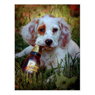 Botella del perrito y de cerveza postales