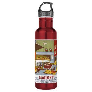 Botella del poster de WPA del mercado
