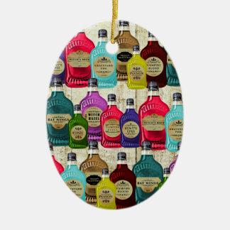 Botella del tónico del boticario de los doctores adorno navideño ovalado de cerámica