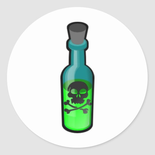 Botella del veneno pegatina redonda