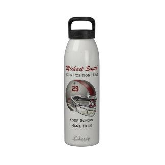Botella gris de la libertad del casco de fútbol am botella de agua reutilizable