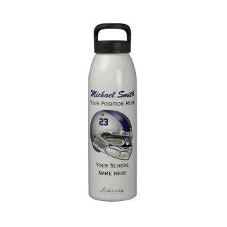 Botella gris de la libertad del casco de fútbol am botallas de agua