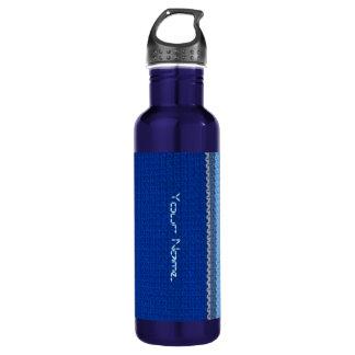 Botella - modelo del ganchillo - rayas azules