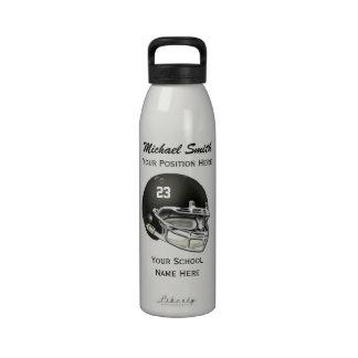 Botella negra de la libertad del casco de fútbol a botella de agua reutilizable