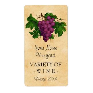 Botella personalizada uvas del vintage de la etiquetas de envío