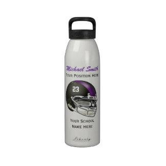 Botella púrpura de la libertad del casco de fútbol botella de beber