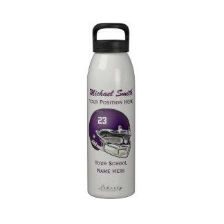 Botella púrpura de la libertad del casco de fútbol botellas de agua reutilizables