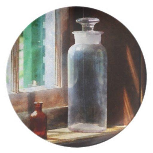 Botella reactiva y pequeña botella de Brown Plato De Comida