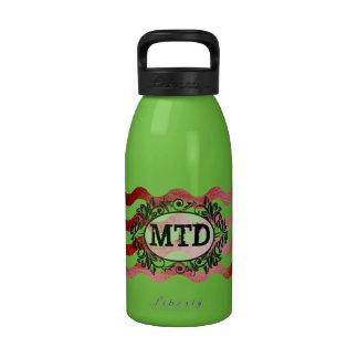 Botella roja del monograma del color del ombre ond botella de agua reutilizable