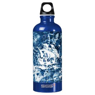 Botella sucia azul del diseño de barco pirata