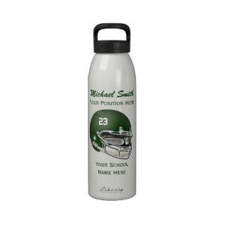 Botella verde de la libertad del casco de fútbol a botellas de beber