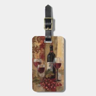 Botella y copas de vino de vino etiquetas de equipaje