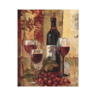 Botella y copas de vino de vino lienzo envuelto para galerias