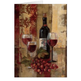Botella y copas de vino de vino tarjeta