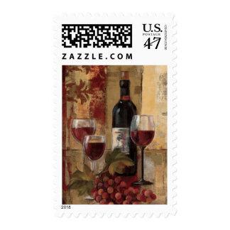 Botella y copas de vino de vino timbre postal