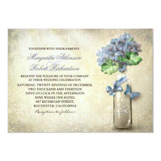 botella y flores de vino del vintage que casan la invitación 12,7 x 17,8 cm