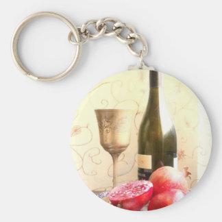 Botella y granadas de vino llavero redondo tipo pin