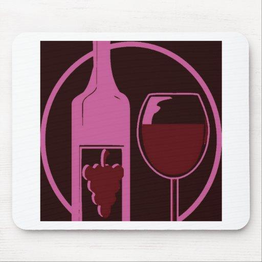 Botella y vidrio de vino rojo alfombrilla de raton