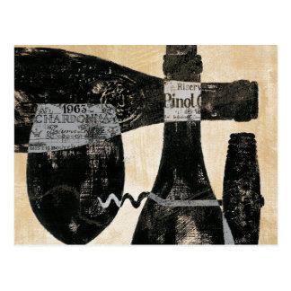 Botella y vidrio de vino postal