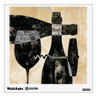 Botella y vidrio de vino vinilo