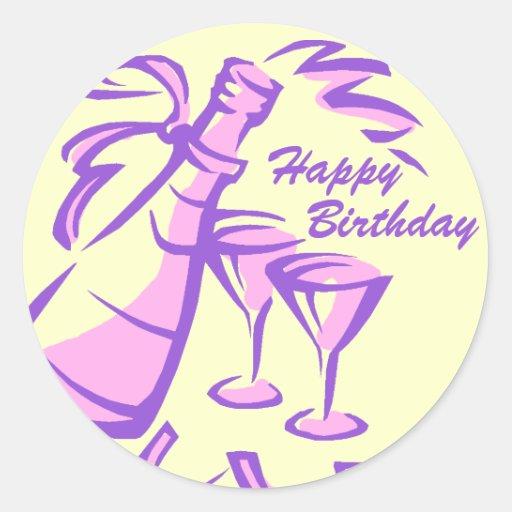 Botella y vidrios de Champán del feliz cumpleaños Pegatina Redonda