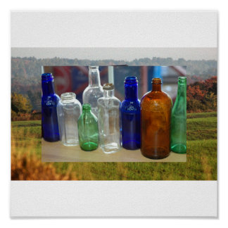 Botellas antiguas póster