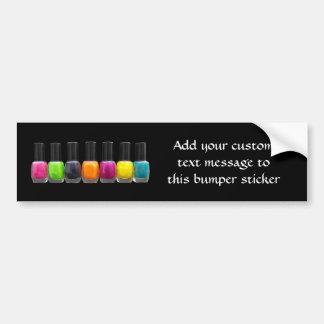 Botellas coloridas del esmalte de uñas, salón del  pegatina para auto