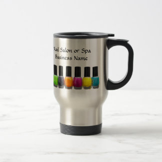 Botellas coloridas del esmalte de uñas, salón del taza de viaje de acero inoxidable