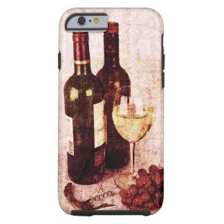 Botellas con el vino, la copa de vino blanca y las funda para iPhone 6 tough