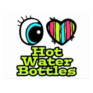 Botellas de agua calientes del ojo del amor postal