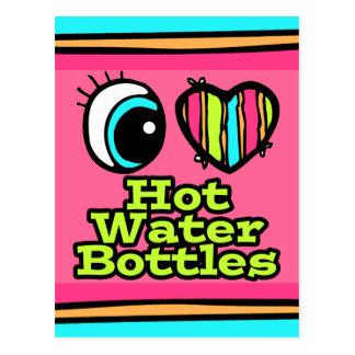 Botellas de agua calientes del ojo del amor postales