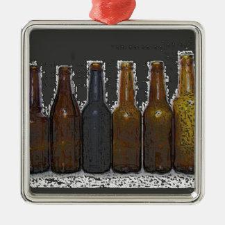 Botellas de cerveza adorno navideño cuadrado de metal