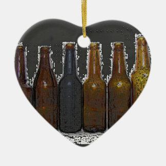 Botellas de cerveza adorno navideño de cerámica en forma de corazón