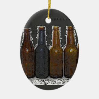 Botellas de cerveza adorno navideño ovalado de cerámica