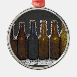 Botellas de cerveza adorno navideño redondo de metal