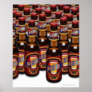 Botellas de cerveza de lado a lado (compuesto de D Póster