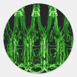 Botellas de cerveza de neón pegatinas redondas