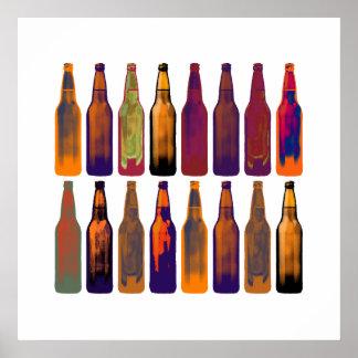 botellas de cerveza del color póster