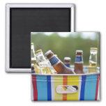 Botellas de cerveza en cubo de hielo imán cuadrado