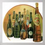 Botellas de cerveza importadas vintage, alcohol, póster