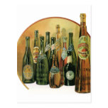 Botellas de cerveza importadas vintage, alcohol, postal