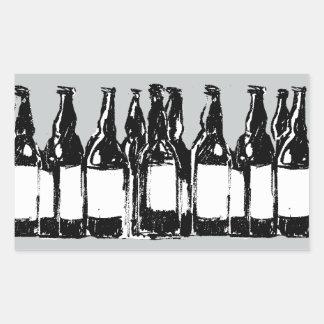 botellas de cerveza pegatina rectangular