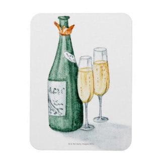 Botellas de Champán y dos vidrios Rectangle Magnet