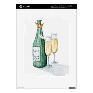Botellas de Champán y dos vidrios iPad 3 Skin