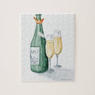Botellas de Champán y dos vidrios Rompecabeza Con Fotos