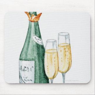 Botellas de Champán y dos vidrios Tapetes De Raton