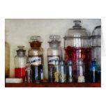 Botellas de la medicina del vintage tarjeton