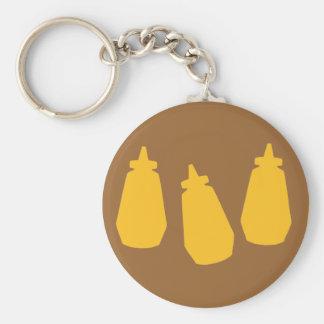 Botellas de la mostaza llavero redondo tipo pin