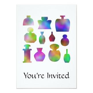 """Botellas de perfume coloridas invitación 5"""" x 7"""""""