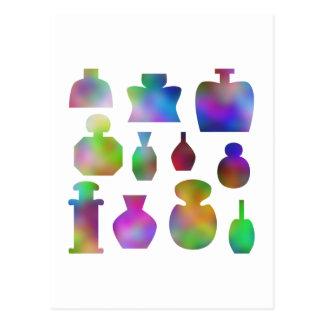 Botellas de perfume coloridas postales